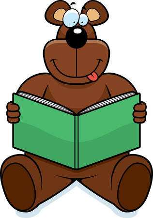 novel: A cartoon bear reading a book and smiling. Illustration
