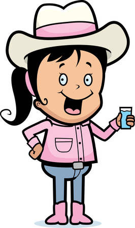 A happy cartoon cowgirl with a drink.
