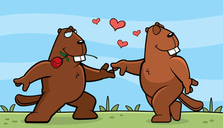 beavers: Two cartoon beavers in love with each other.