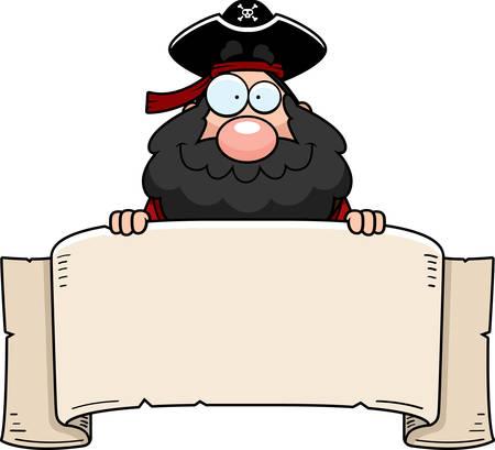 papier banner: Ein Cartoon-Pirat mit einem Papier-Banner.