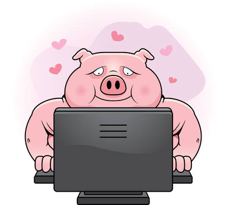 internet dating: A happy cartoon pig using an internet dating site.