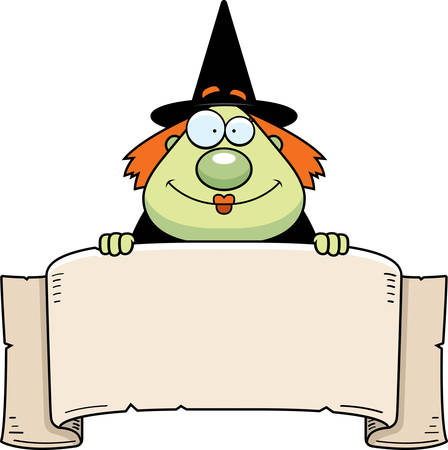 paper spell: A cartoon witch with a paper banner.