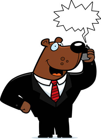 obnoxious: A cartoon bear in a suit talking on a cell phone.