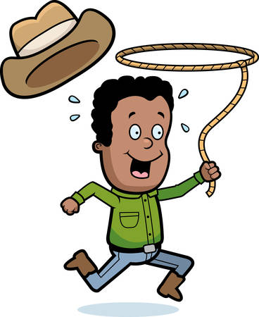 cartoon hat: A happy cartoon boy with a lasso.
