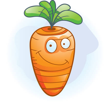 A cartoon orange carrot smiling and happy.