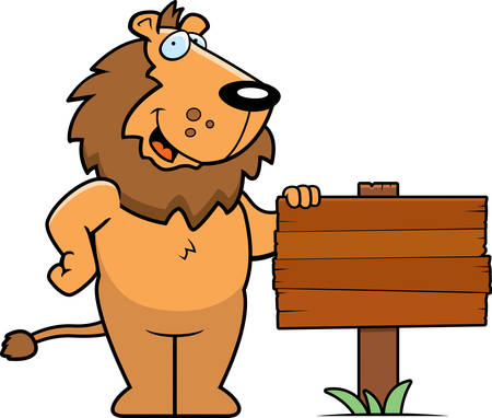 A happy cartoon lion standing next to a wood sign.