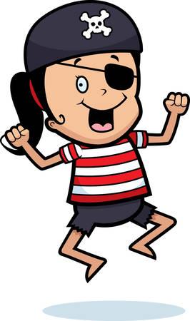 Een gelukkig cartoon piraat meisje springen en glimlachen.
