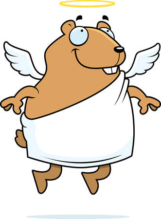 A happy cartoon hamster with angel wings and halo.