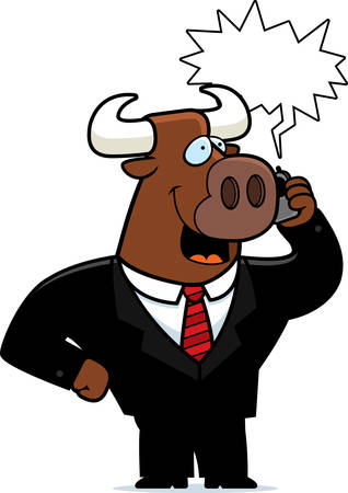 A cartoon bull in a suit talking on a cell phone.