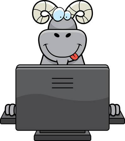 컴퓨터와 함께 행복 한 만화 ram입니다. 스톡 콘텐츠 - 41885242