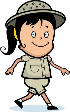 A happy cartoon explorer girl walking and smiling. Ilustração