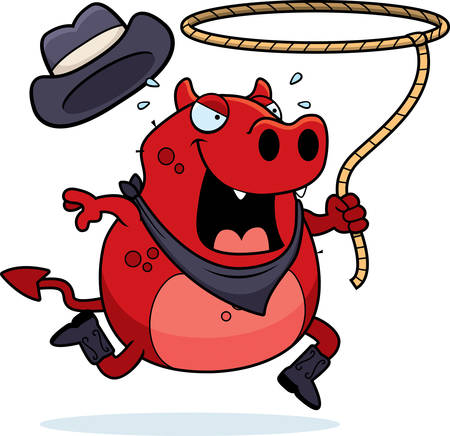 lasso: A happy cartoon rodeo devil running with a lasso.