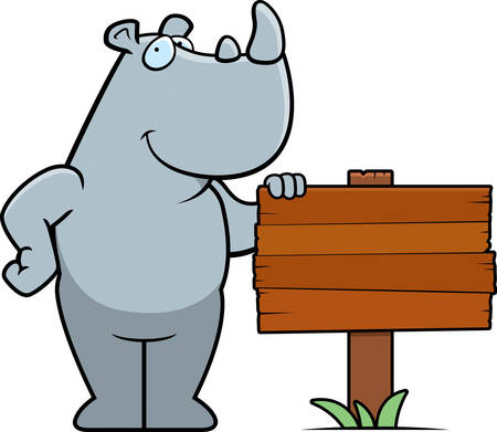 A happy cartoon rhino standing next to a wood sign. 向量圖像