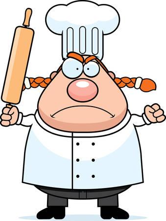 chef caricatura: Un chef de dibujos animados con una expresión enojada.