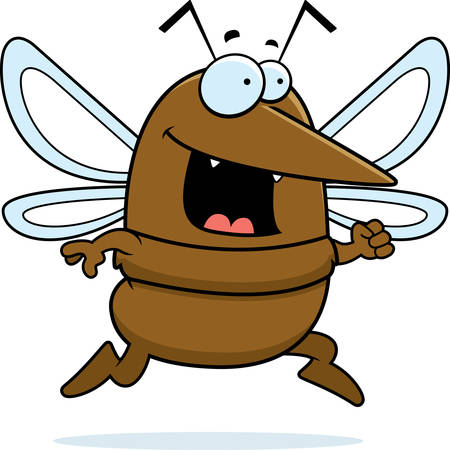 A happy cartoon mosquito running and smiling. Ilustrace