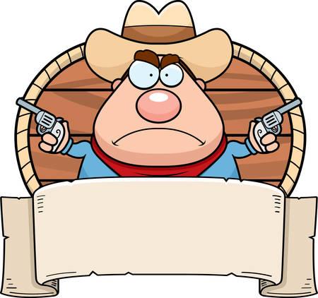 cowboy gun: A cartoon cowboy with a paper banner.