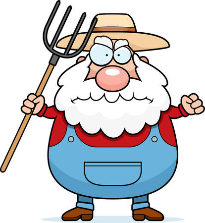 persona mayor: Un agricultor de dibujos animados con una expresión enojada.