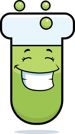 A cartoon test tube smiling and happy.