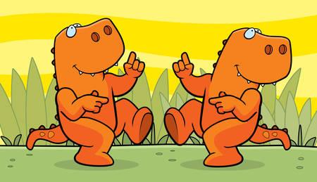 dinosaurio caricatura: Dos dinosaurios de dibujos animados feliz bailando y sonriendo.