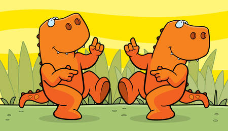 cartoon dinosaur: Two happy cartoon dinosaurs dancing and smiling.