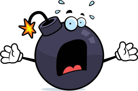 cartoon bomb: A cartoon bomb with a scared expression. Illustration