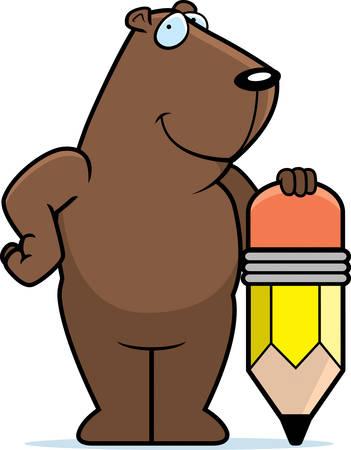 A happy cartoon groundhog with a pencil. Ilustracja