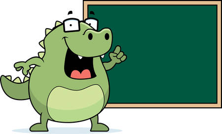 A happy cartoon lizard at the blackboard.