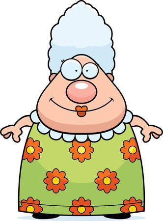 Een happy cartoon oma staan en glimlachen.