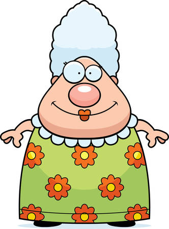 A happy cartoon grandma standing and smiling.