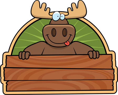 A happy cartoon moose with a wooden sign.