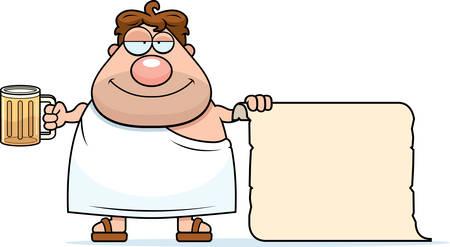 toga: A happy cartoon frat boy with a list.