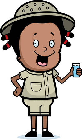 girl drinking water: A happy cartoon explorer with a drink. Illustration