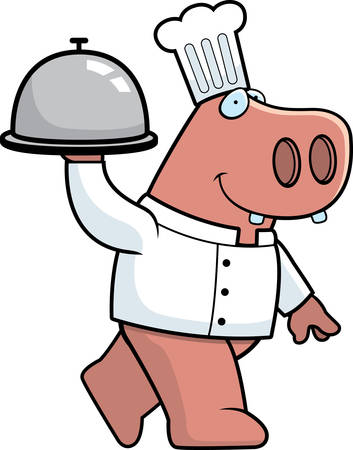 A happy cartoon hippo chef with a serving tray.