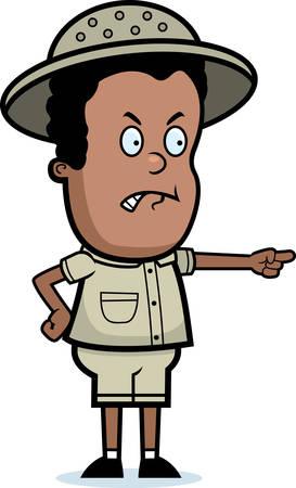 A cartoon explorer boy with an angry expression. Ilustração