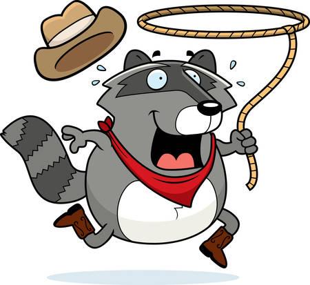 lasso: A happy cartoon rodeo raccoon with a lasso.