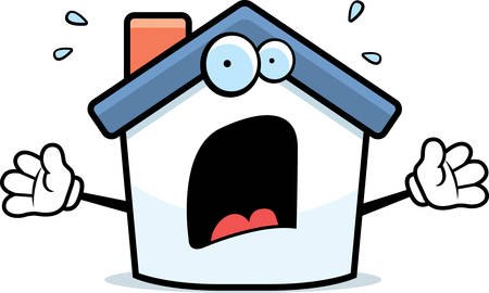 house: A cartoon house with a scared expression. Illustration
