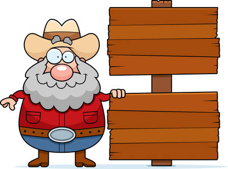 prospector: A happy cartoon prospector with a sign. Illustration