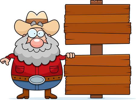 prospector: El prospector de dibujos animados feliz con un signo.