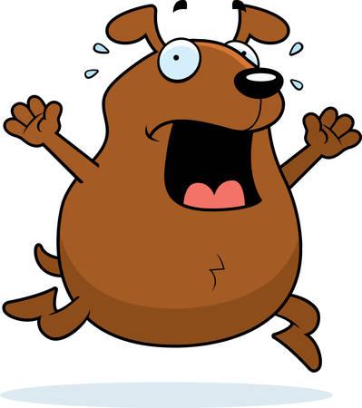 A cartoon dog running in a panic.