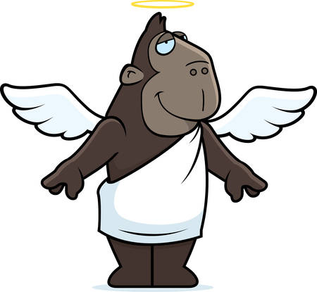 A happy cartoon ape with angel wings and halo.
