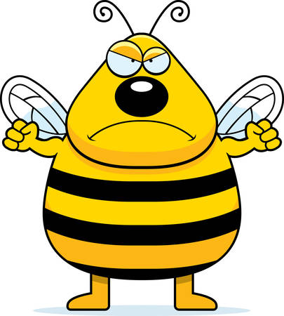 frowning: A cartoon bee frowning and looking angry. Illustration