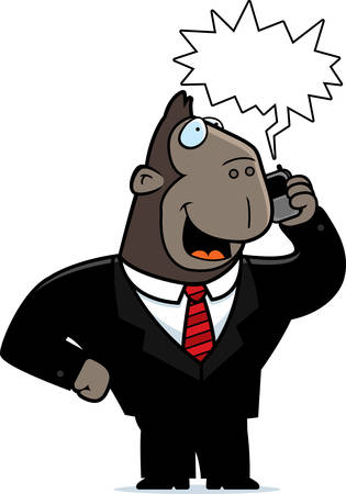 obnoxious: A cartoon ape in a suit talking on a cell phone.