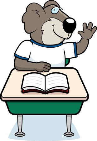 A happy cartoon koala student at a desk.