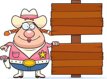 A happy cartoon cowgirl with a wooden sign.