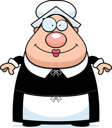 A happy cartoon pilgrim woman standing and smiling.