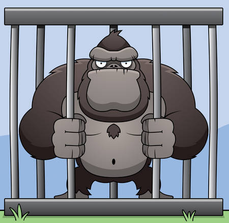 An angry cartoon gorilla in a cage. Ilustracja