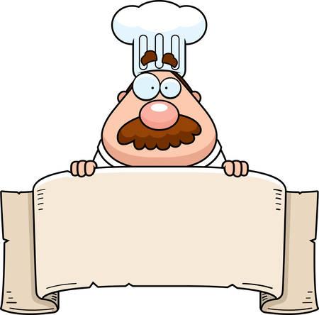 chef caricatura: Un chef de dibujos animados con una bandera de papel.