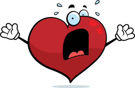 heart attack: A cartoon heart with a scared expression. Illustration