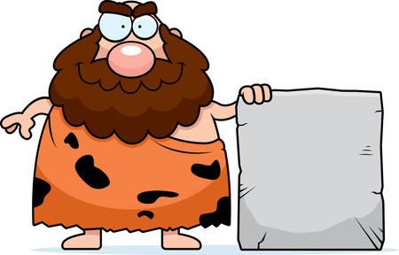 A happy cartoon caveman with a stone sign. Illusztráció