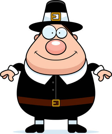 guy standing: A happy cartoon pilgrim man standing and smiling.